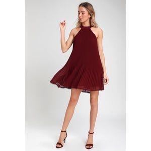 NWT Pretty Pleats Wine Red pleated Swing Dress S